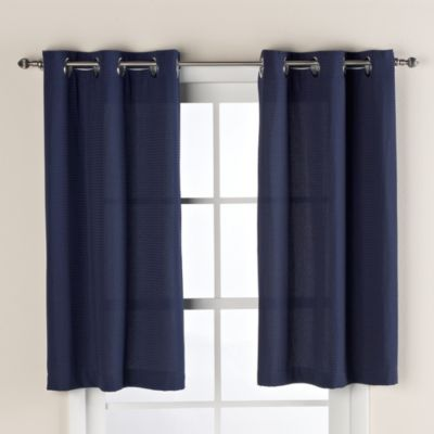 Hookless® Waffle Window Curtain in Navy Blue
