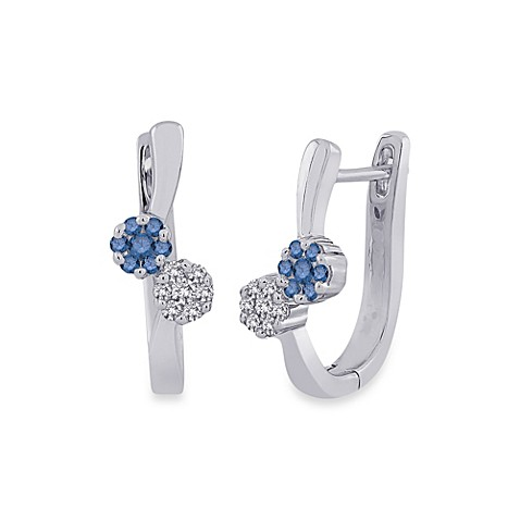 10K White Gold 0.25 cttw Blue and White Diamond Floral Huggie Earrings