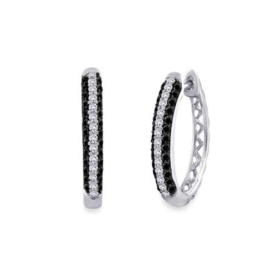 10K White Gold 0.75 cttw Black and White Diamond Hoop Earrings