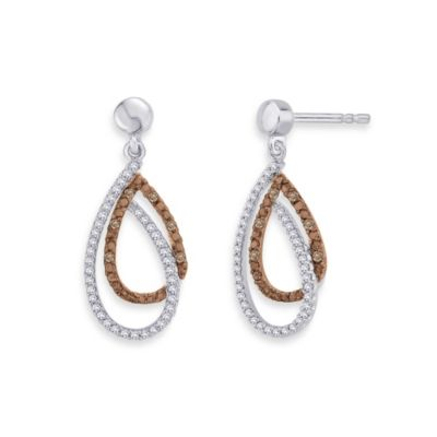10K White Gold 0.375 cttw Brown and White Diamond Double Drop Dangle Earrings
