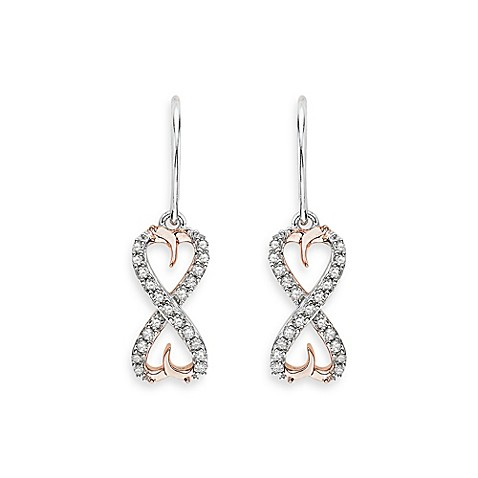 Sterling Silver w/Two Tone 0.20 cttw Diamond Infinity Double Heart Earrings