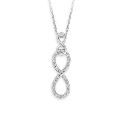 Sterling Silver 0.14 cttw Diamond infinity Pendant w/18-Inch Necklace