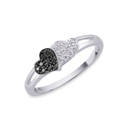 10K White Gold Black and White 0.11 cttw Diamond Heart Size 7 Ring