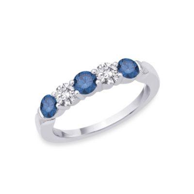 14K White Gold .25 cttw Blue and White Diamond Size 7 Ladies' 5-Stone Band
