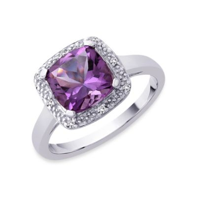 Sterling Silver 0.05 cttw Diamond and Amethyst Size 7 Ring