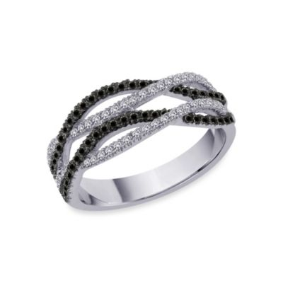 10K White Gold 0.375 cttw Black and White Diamond Size 7 Ring