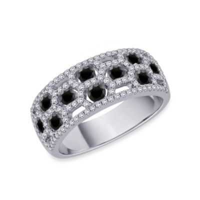 10K White Gold 0.875 cttw Black and White Diamond Size 7 Ring