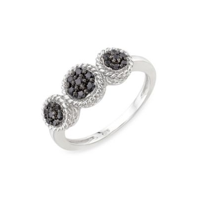 Sterling Silver 0.25 cttw Black Diamond Size 7 Ring