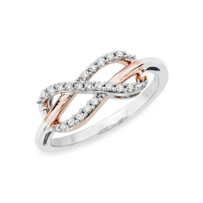 Sterling Silver Two-Tone 0.20 cttw Diamond Infinity Size 7 Ring