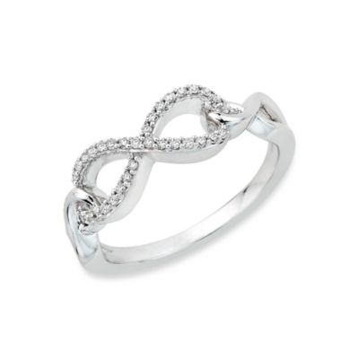 Sterling Silver Two-Tone 0.13 cttw Diamond Infinity Size 7 Ring