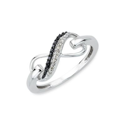 Sterling Silver 0.06 cttw Black and White Diamond Infinity Size 7 Ring