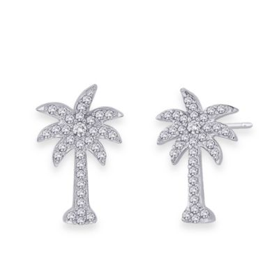 10K White Gold 0.33 cttw Diamond Palm Tree Earrings