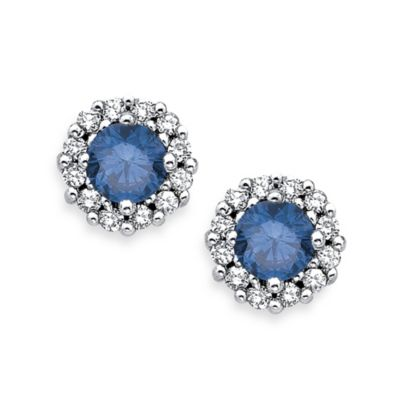 10K White Gold 0.50 cttw White Diamond w/Blue Center Diamond Fashion Earrings