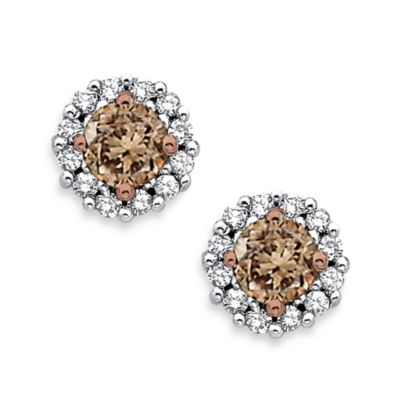 10K White Gold 0.50 cttw White Diamond w/Brown Center Diamond Fashion Earrings
