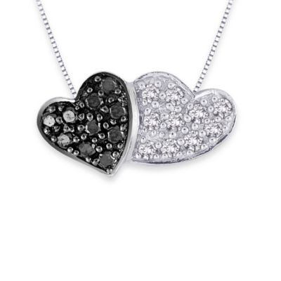 10K White Gold Black and White 0.11 cttw Diamond Double Heart Pendant w/18-Inch Chain