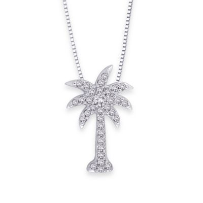 10K White Gold 0.15 cttw Diamond Palm Tree Pendant w/18-Inch Chain