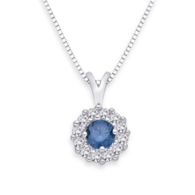10K White Gold 0.33 cttw Blue and White Diamond Pendant w/18-Inch Chain
