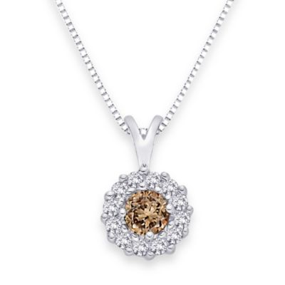 10K White Gold 0.33 cttw Brown and White Diamond Pendant w/18-Inch Chain