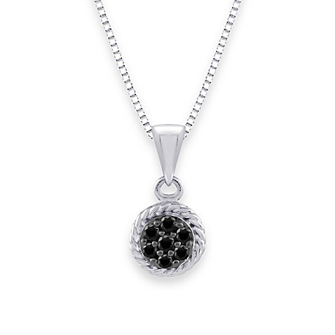 Sterling Silver 0.13 cttw Black and White Diamond Pendant w/18-Inch Chain