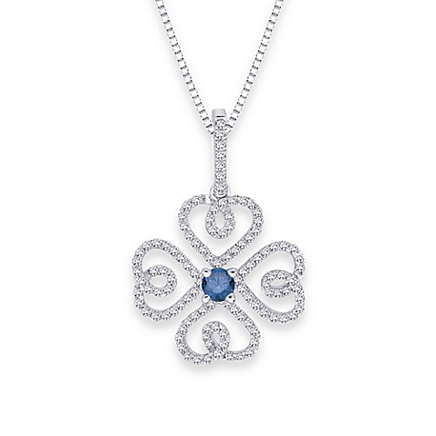 10K White Gold 0.375 cttw Blue and White Diamond Infinity Pendant w/18-Inch Chain