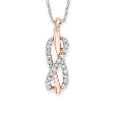 Sterling Silver Two-Tone 0.13 cttw Diamond Infinity Pendant w/18-Inch Chain