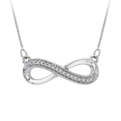 Sterling Silver 0.07 cttw Diamond infinity Pendant w/18-Inch Chain