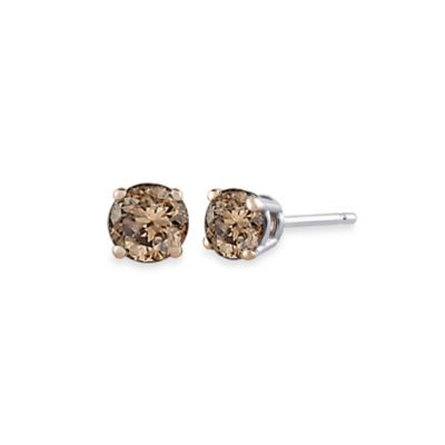 14K White Gold, Brown Diamond Stud Earrings