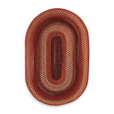 Capel Portland 5-Foot x 8-Foot Oval Indoor Braided Rug - Red