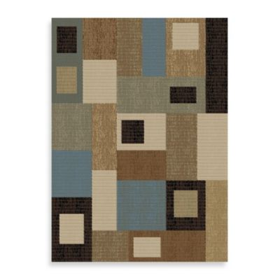 Concord Global Rectangles Blue 5-Foot 3-Inch x 7-Foot 3-Inch Rug