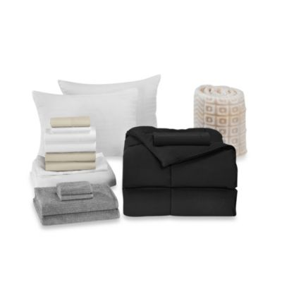 Solid Black 17-Piece Basic Dorm Room Kit