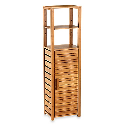 Buy bamboo tall floor cabinet from bed bath beyond - Tall bathroom storage cabinets with doors ...