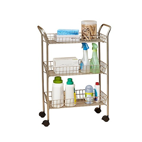 3 tier rolling bath cart with locking wheels in matte for Bathroom cart on wheels