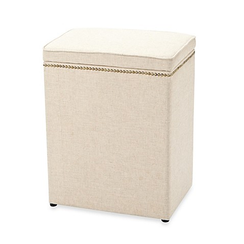 Small linen hamper with nailhead trim bed bath beyond for Small bathroom hamper