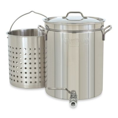 Bayou Classic® 40-Quart Stainless Steel Stockpot with Spigot Vented Lid and Basket