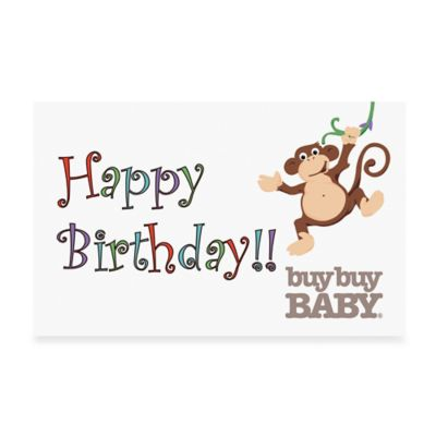 "buybuy BABY ""Happy Birthday Monkey"" Gift Card $50.00"
