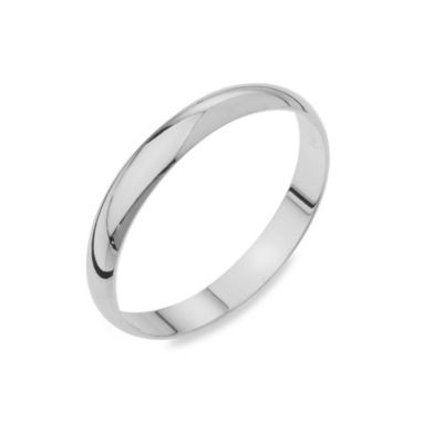 14K White Gold 3MM Plain Men's Wedding Ring
