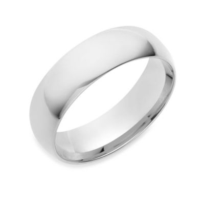 10K White Gold 6MM Comfort Feel Men's Wedding Ring