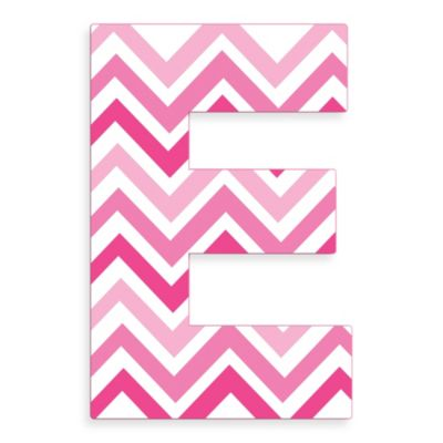 "Stupell Industries Tri-Pink Chevron 18-Inch Hanging Letter in ""E"""
