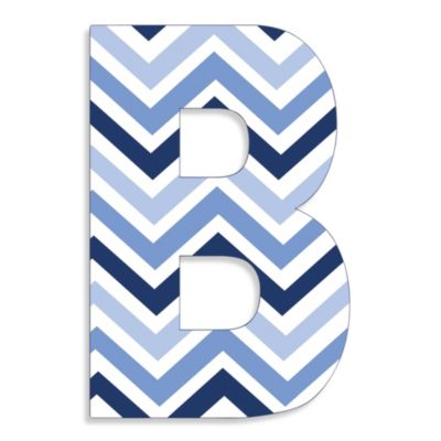 "Stupell Industries Tri-Blue Chevron 18-Inch Hanging Letter in ""B"""