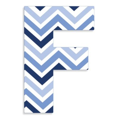 "Stupell Industries Tri-Blue Chevron 18-Inch Hanging Letter in ""F"""