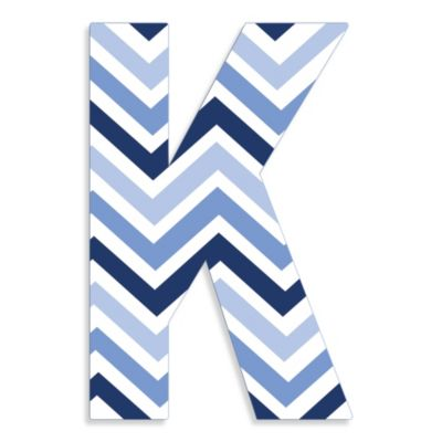 "Stupell Industries Tri-Blue Chevron 18-Inch Hanging Letter in ""K"""
