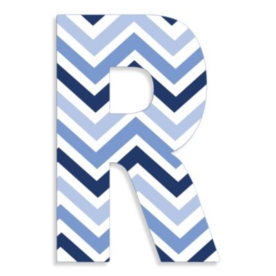 "Stupell Industries Tri-Blue Chevron 18-Inch Hanging Letter in ""R"""