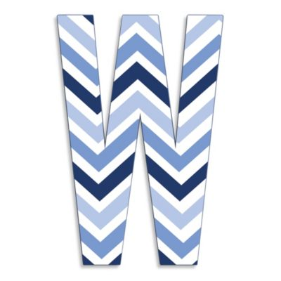 "Stupell Industries Tri-Blue Chevron 18-Inch Hanging Letter in ""W"""
