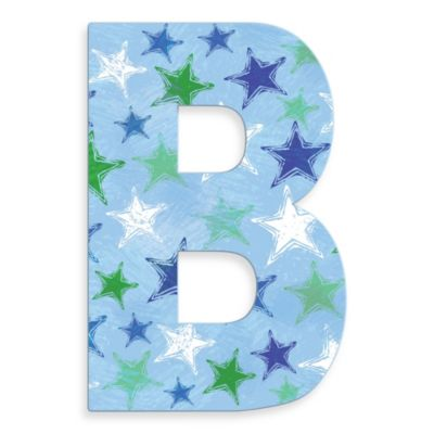 "Stupell Industries Blue Distressed Stars 18-Inch Hanging Letter in ""B"""