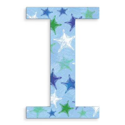 "Stupell Industries Blue Distressed Stars 18-Inch Hanging Letter ""I"""