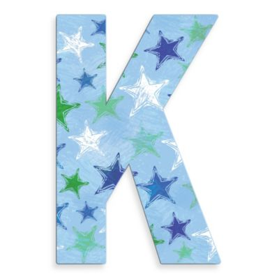 "Stupell Industries Blue Distressed Stars 18-Inch Hanging Letter ""K"""