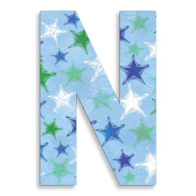 "Stupell Industries 18-Inch Blue Distressed Stars Hanging Letter ""N"""