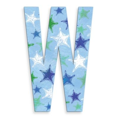 "Stupell Industries 18-Inch Blue Distressed Stars Hanging Letter ""W"""