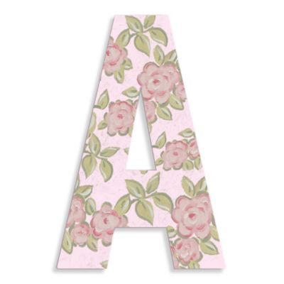 "Pink Roses On Pink Background Hanging Letter ""A"""