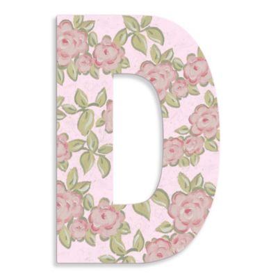 "Pink Roses On Pink Background Hanging Letter ""D"""